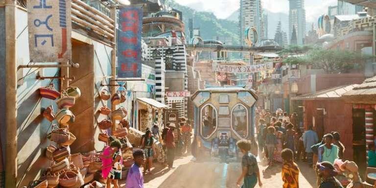 Une vue d'une rue animée de Birnin Zana, capitale du Wakanda.