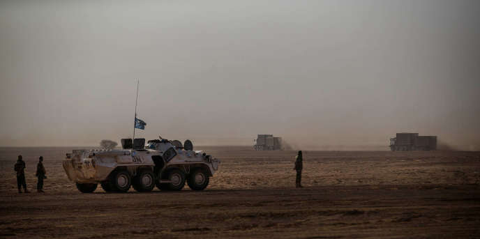 Un véhicule de la Misnusma entre Gao et Kidal, au Mali, en février 2017.
