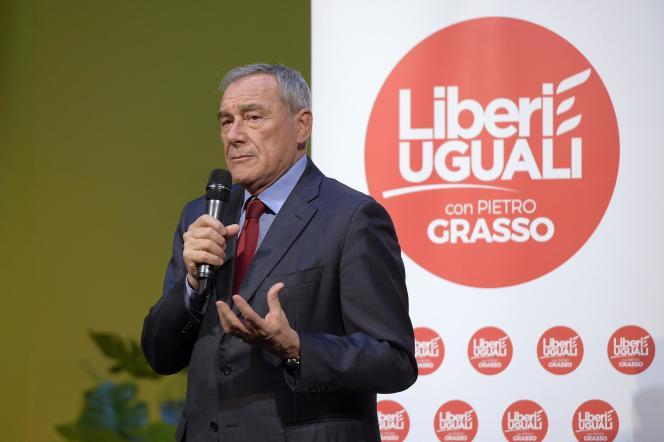 Pietro Grasso, ancien président du Sénat, est aujourd'hui à la tête de la formation de gauche anti-Renzi, Libres et égaux, le 1er mars, à Rome.