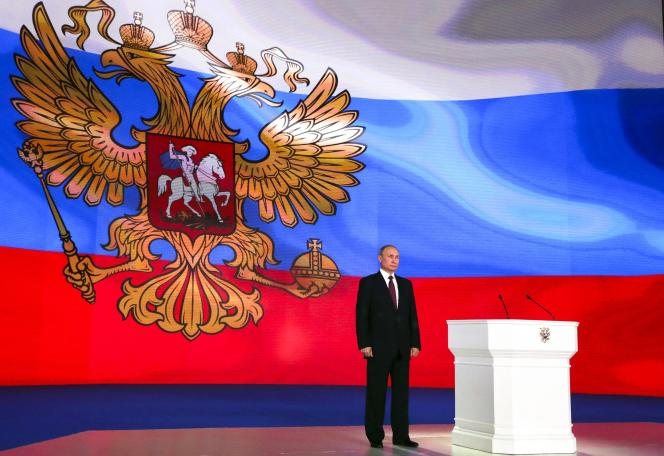 Le président russe, Vladimir Poutine, jeudi 1er mars, après son discours annuel au Parlement.