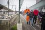 Arrivée du personnel SNCF de la région Nouvelle-Aquitaine pour interpeller le directeur régional au sujet du projet de changement de statut des cheminots, à Bordeaux, le 28 février 2018.