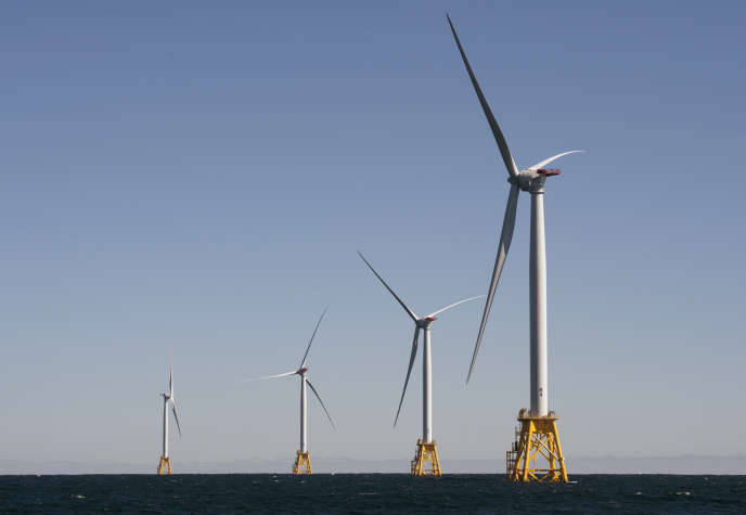 La ferme éolienne de General Electric aularge de Block Island, dans le Rhode Island, aux Etats-Unis, en octobre 2016.
