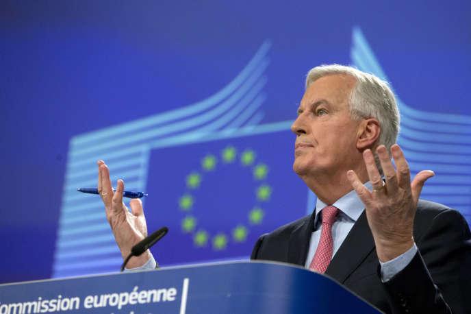 Michel Barnier présente son projet d'accord de retrait du Royaume-Uni, le 28 février, à Bruxelles.