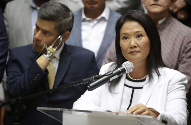 Keiko Fujimori, lors d'une conférence de presse de son parti, le 28 février.
