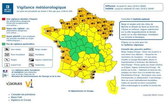 Carte de la vigilance météorologique de Météo-France jeudi à 16 heures.