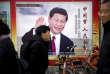 Une affiche montrant Xi Jinping, à Pékin, le 2 mars.