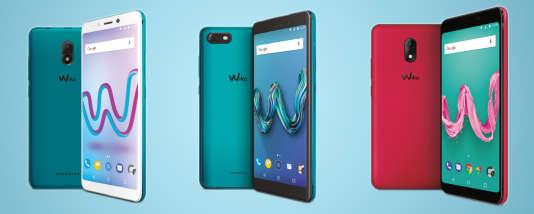 De gauche à droite, les Wiko Jerry 3, Tommy 3 et Lenny 5. Tous sont équipés d'Android Go et sont attendus pour juin.