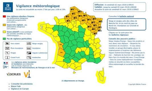 A 9h35, vendredi 2 mars, vingt et un départements étaient placés en vigilance orange dans le nord et le nord-est du pays.