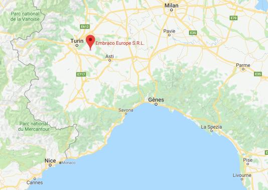 La localisation de l'usine Embraco, à une trentaine de kilomètres de Turin.