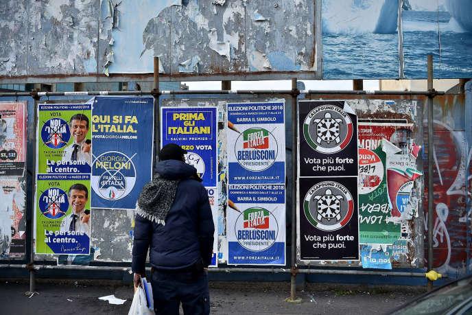 La campagne électorale à Milan, le 19 février.