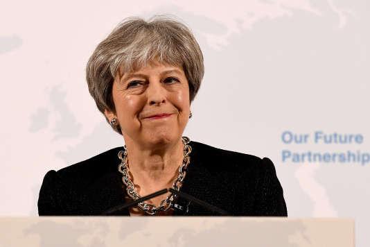 La première ministre britannique, Theresa May, lors de son discours sur l'après Brexit, à Londres, le 2 mars.