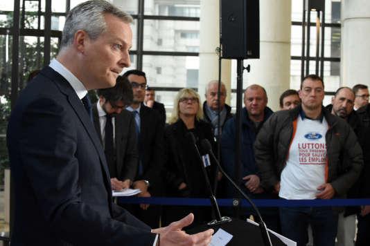 Le ministre de l'économie, Bruno Le Maire, donne une conférence de presse à Paris, le 2 mars, après une réunion avec le maire de Bordeaux et des représentants des salariés de l'usine Ford de Blanquefort.