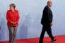 La chancelière allemande Angela Merkel et le président des Etats-Unis Donald Trump, lors de la réunion du G20 à Hamburg, en Allemagne, le 7 juillet 2017.