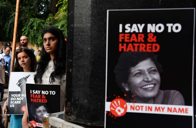 Lors d'une manifestation en Inde, après l'assassinat de la journaliste Gauri Lankesh, le7septembre2017.