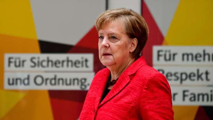 Angela Merkel au lendemain de l'annonce de l'accord de coalition, le 5 mars.