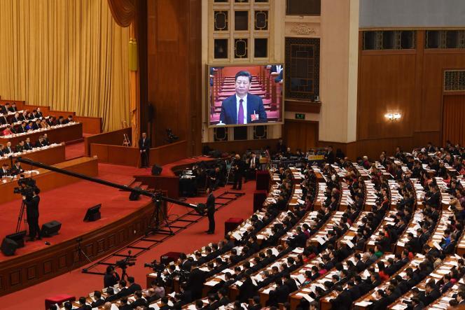 Lors de l'ouverture de la session annuelle de l'Assemblée nationale populaire, le Parlement chinois, lundi 5 mars, à Pékin.