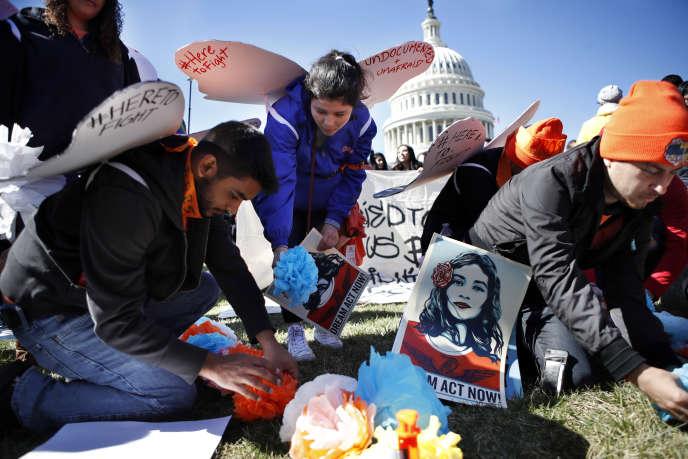 Manifestation en faveur du programme Deferred Action for Childhood Arrivals (Daca), à Washington, le 5 mars.
