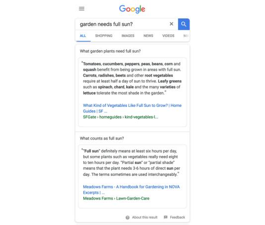 Un exemple de double réponse issue du programme de test de Google.