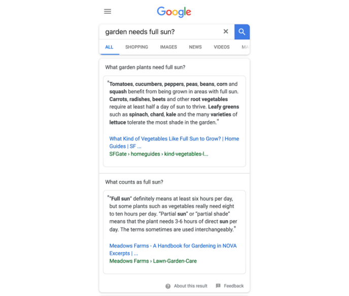 Un exemple de double réponse issue du programme de test de Google.