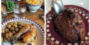 De gauche à droite :poulet rôti et pommes de terre grenaille et mousseau chocolat.