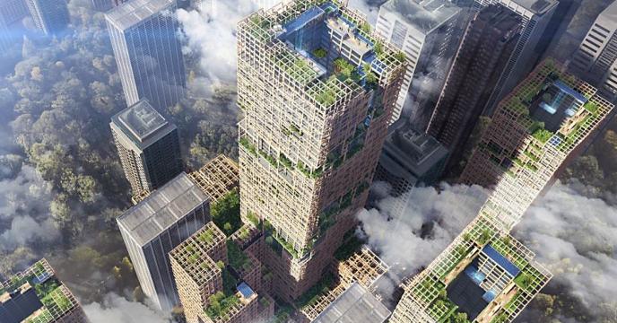 Projet de construction dugratte-ciel en bois W350 par le groupe Sumitomo Forestry Co, à Tokyo.