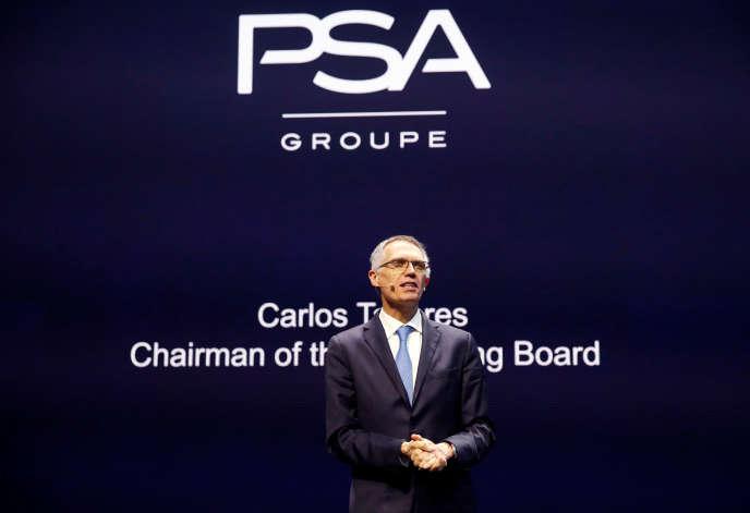 Carlos Tavares, à la tête du groupe PSA, lors du salon de l'automobile à Genève, le 6 mars 2018.
