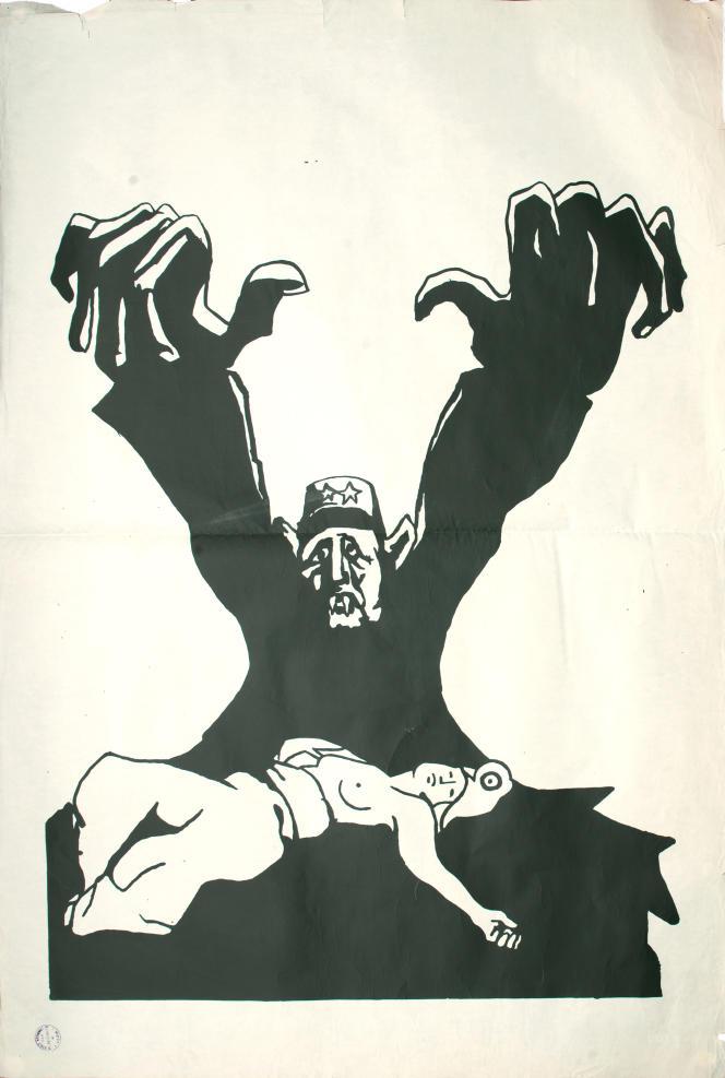 «De Gaulle vampire». Affiche éditée par l'atelier de l'Ecole des beaux-arts de Lyon, mai 1968.