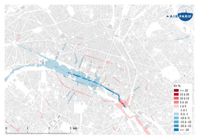 Carte d'évolution de la pollution atmosphérique depuis la fermeture des voies sur berge à la circulation motorisée en septembre 2016.
