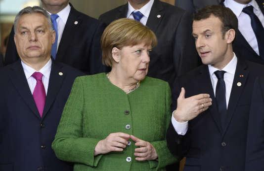 La chancelière allemande Angela Merkel et Emmanuel Macron lors d'un sommet européen, à Bruxelles, le 23 janvier.