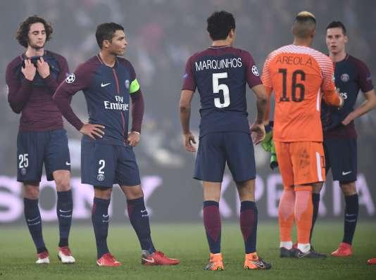 Les joueurs du PSG après leur élimination face au Real Madrid, mardi 6 mars.