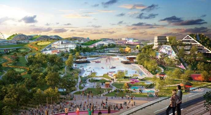 Image de synthèse du projet de complexe touristique et commercial Europacity, dévoilée par la société Alliages et Territoires, le 27 septembre 2017.