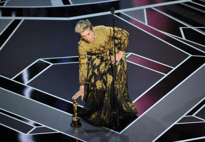 Frances McDormand, lors de la cérémonie des Oscars en mars 2018.