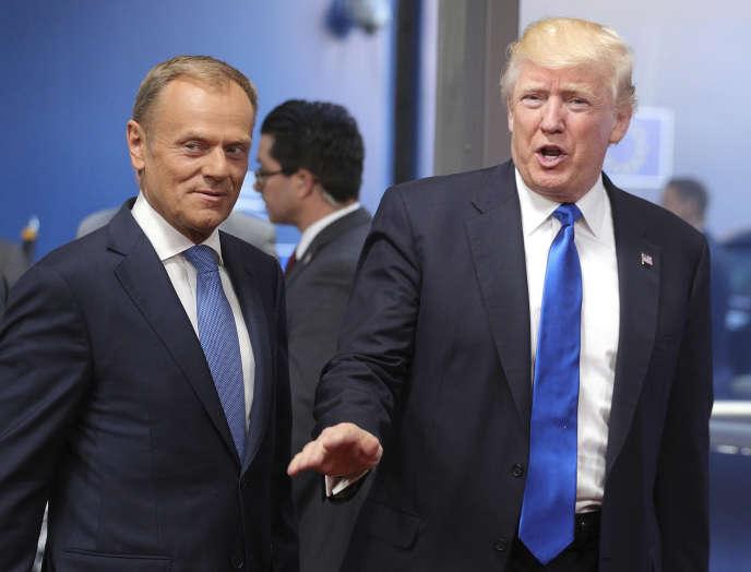Le président du Conseil européen Donald Tusk et le président américain Donald Trump, le 25 mai 2017 à Bruxelles.