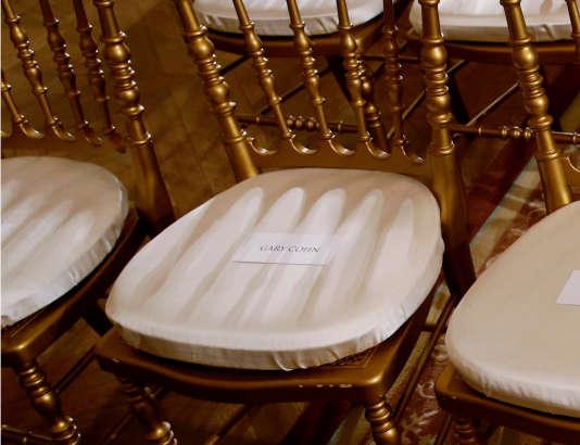 Au cours d'une conférence de presse commune avec le premier ministre suédois en visite à la Maison Blanche,la chaise réservée à Gary Cohn au sein de la délégation américaine est restée vide, mardi6 mars.