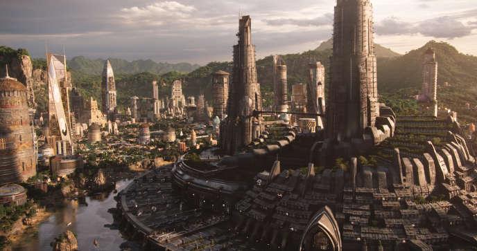 Golden City, la capitale du royaume imaginaire du Wakanda dans le film « Black Panther », de Ryan Coogler.