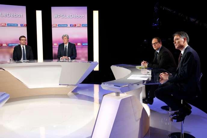 Le débat entre les quatre candidats à la tête du PS, sur le plateau de LCI, le 7 mars.