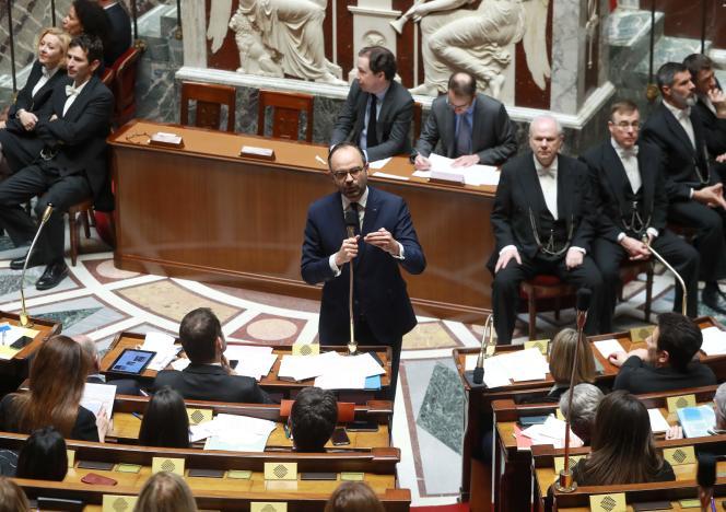 Le premier ministre, Edouard Philippe, à l'Assemblée nationale, le 6 mars.