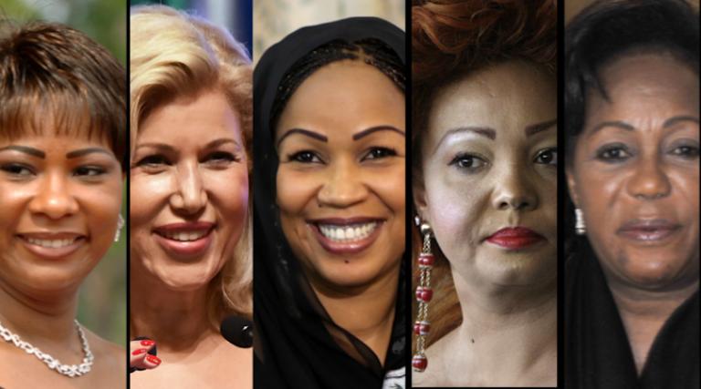 De gauche à droite: les premières dames Olive Lembe di Sita (RDC), Dominique Ouattara (Côte d'Ivoire), Hinda Déby Itno (Tchad), Chantal Biya (Cameroun) et Antoinette Sassou-Nguesso (Congo-Brazzaville).