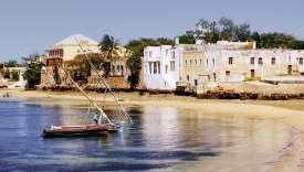 La cité de pierre vue du ponton principal de l'île de Mozambique.