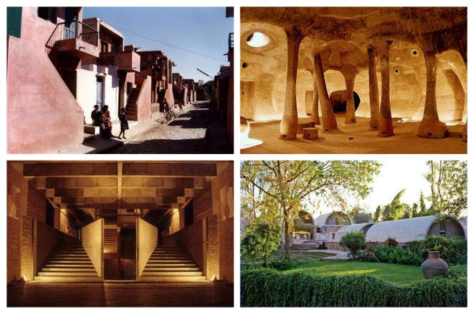 De haut en bas et de gauche à droite : le projet d'habitations à loyer modéré d'Aranya, à Indore (1989) ; la galerie souterraine d'Amdavad ni Gufa, à Ahmedabad (1995) ; le Centre de planification et de technologie environnementales, à Ahmedabad (1962-2012) ; le studio d'architecture Sangath, à Ahmedabad (1981).