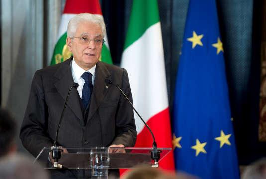Le président italien Sergio Mattarella lors d'un discours à Rome, le 8mars.