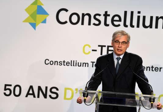 Le PDG de Constellium Jean-Marc Germain lors d'un discours àVoreppe (Isère), le 8 juin 2017 pour les 50 ans de l'entreprise.