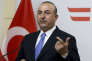 Turkey's Foreign Minister Mevlut Cavusoglu address the media after their talks with Austrian Foreign Minister Karin Kneissl at the foreign ministry in Vienna Austria, Thursday, March 8, 2018. (AP Photo/Ronald Zak)