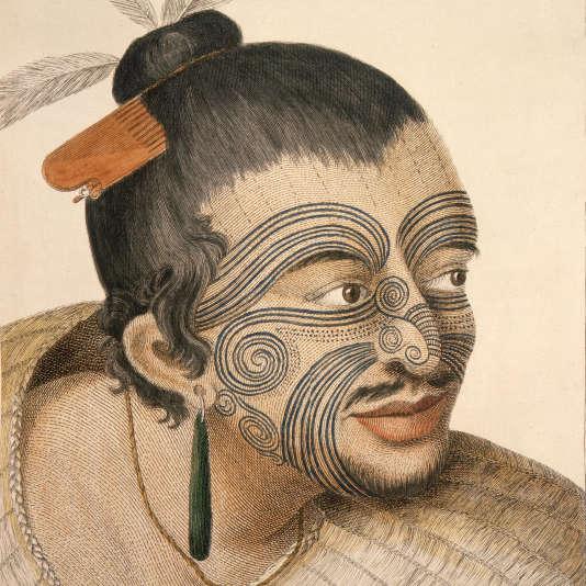 Dessin d'un chef maori réalisé en 1784 après le premier voyage de l'explorateurbritannique James Cook en Nouvelle-Zélande.