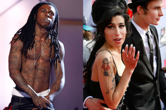 Le rappeur Lil Wayne, en 2008 à Los Angeles, et la chanteuse Amy Winehouse, en 2007 aux MTV Movie Awards, en Californie.