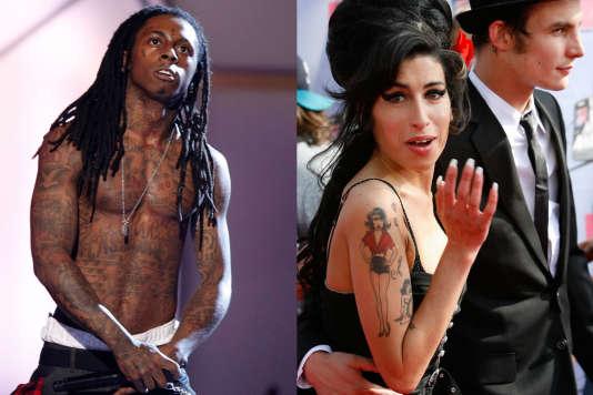 Le rappeur Lil Wayne, en 2008 à Los Angeles, et la chanteuse Amy Winehouse, en 2007 aux MTV Movie Awards, en Californie.