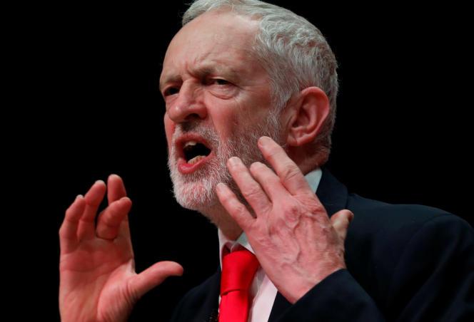 Le chef du Labour au Royaume-Uni, Jeremy Corbyn, lors d'une conférenceà Dundee, en Ecosse, le 9 mars.