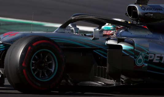 La Mercedes de Lewis Hamilton, le 9 mars sur le circuit de Barcelone.