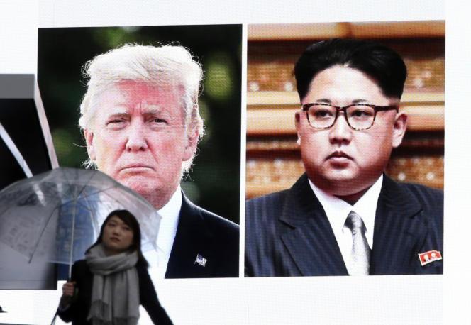 Annonce, le 9 mars 2018, de la rencontre prochaine entre Donald Trump et Kim Jong-un sur un grand écran, à Tokyo.