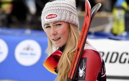 Mikaela Shiffrin après sa troisième place en géant.